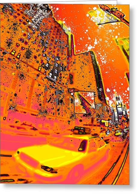 Manhattan Street Scene Greeting Cards - Modern Art NYC Times Square I Greeting Card by Melanie Viola