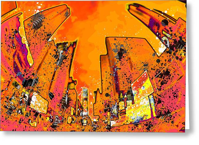 Manhattan Street Scene Greeting Cards - Modern Art NYC Times Square II Greeting Card by Melanie Viola