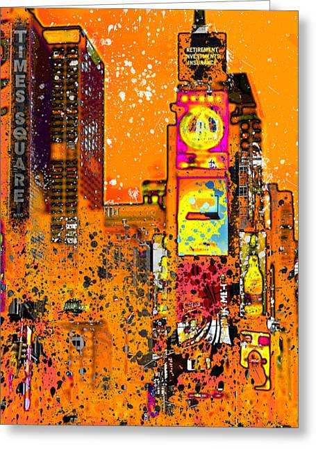 Manhattan Street Scene Greeting Cards - Modern Art NYC Times Square III Greeting Card by Melanie Viola