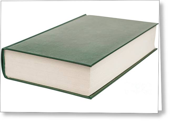 Manual Greeting Cards - Modern Book With Blank Green Cover Isolated On White Greeting Card by Radu Bercan