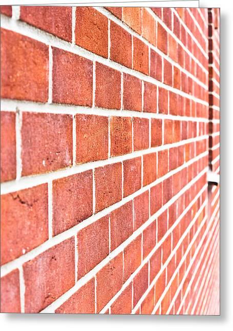 Modern Brick Wall Greeting Card by Tom Gowanlock