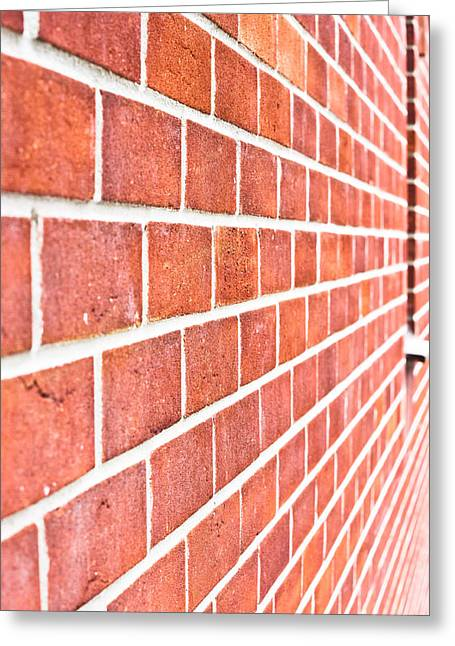 Stone-work Greeting Cards - Modern brick wall Greeting Card by Tom Gowanlock