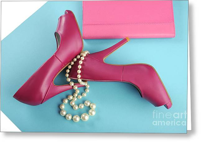 Clutch Bag Greeting Cards - Pink shoes with 60s colorblocking Greeting Card by Milleflore Images