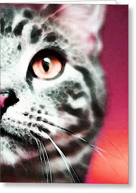 Modern Cat Art - Zebra Greeting Card by Sharon Cummings
