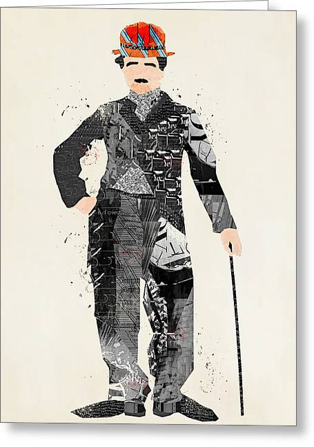 Chaplin Poster Greeting Cards - Modern Chaplin Greeting Card by Bri Buckley