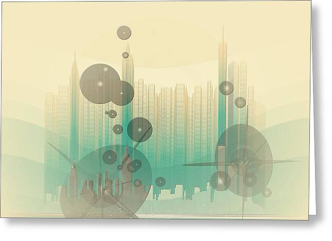 Modern City Abstract Greeting Card by Robert G Kernodle