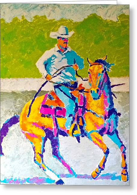 Action Sports Drawings Greeting Cards - Modern Cowboy Greeting Card by Bern Miller