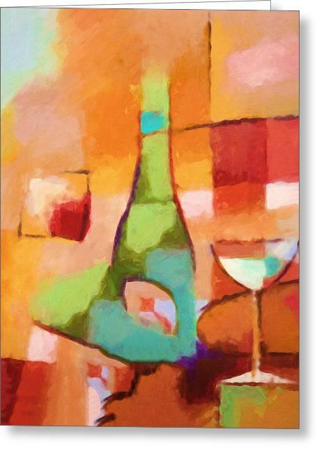 Fine Bottle Paintings Greeting Cards - Modern Cuisine Greeting Card by Lutz Baar