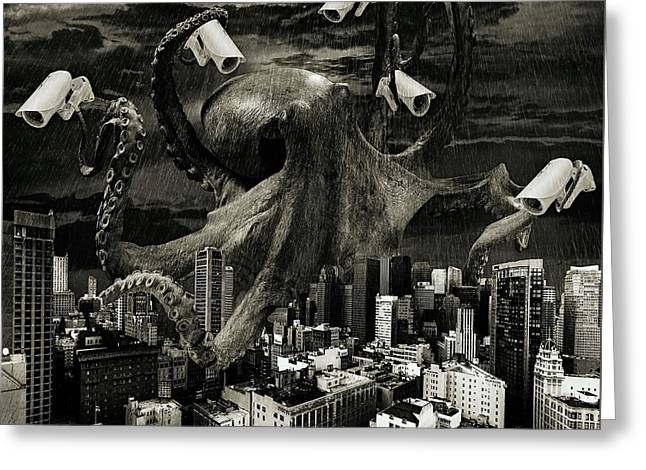 Modern Freedom Black And White Greeting Card by Marian Voicu