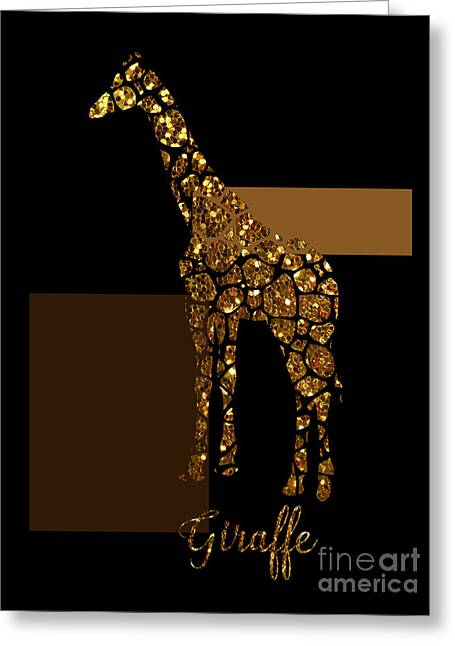 Modern Gilt Giraffe, Gold Black Brown Greeting Card by Tina Lavoie