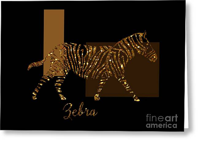 Modern Golden Zebra, Gold Black Brown Greeting Card by Tina Lavoie