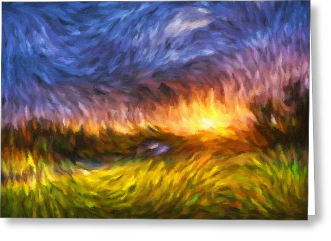 Van Gogh Style Greeting Cards - Modern Landscape Van Gogh Style Greeting Card by Georgiana Romanovna