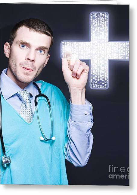 Modern Male Doctor Pressing Digital Cross Button Greeting Card by Jorgo Photography - Wall Art Gallery