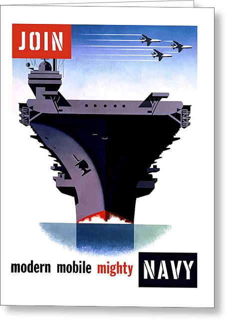 Veteran Art Greeting Cards - Modern Mobile Mighty Navy Greeting Card by War Is Hell Store