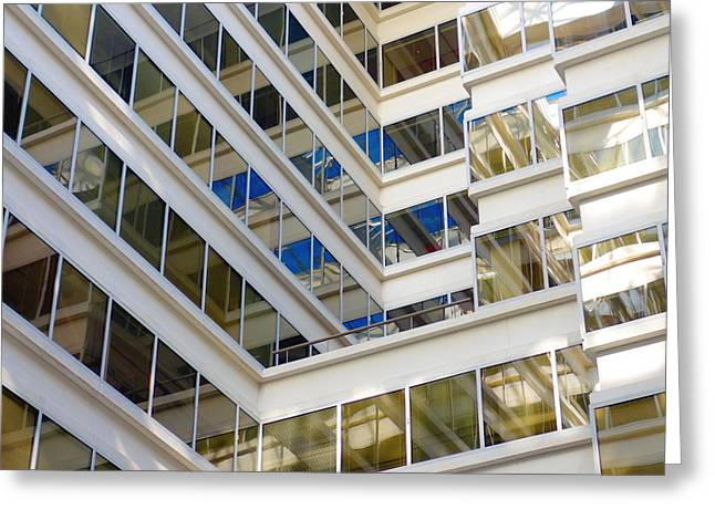 Cubicle Greeting Cards - Modern Office Building Greeting Card by Valentino Visentini