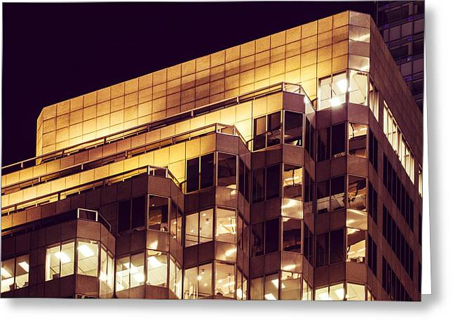 Glass Reflecting Greeting Cards - Modern Office Structure Night Lit Greeting Card by Nasser Studios