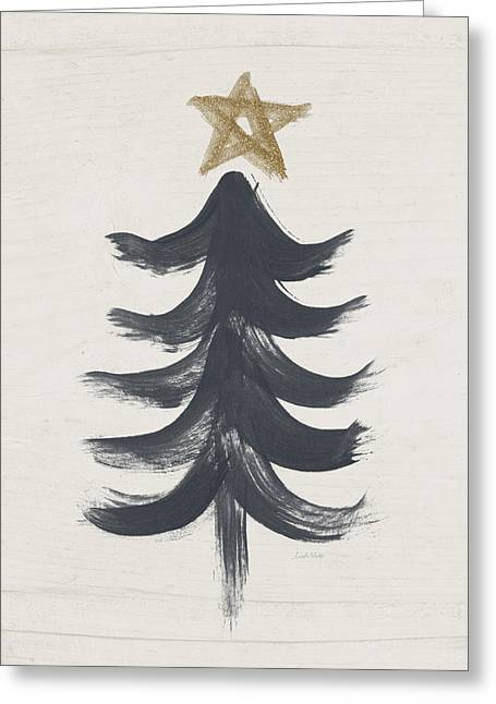 Primitive Mixed Media Greeting Cards - Modern Primitive Black and Gold Tree 1- Art by Linda Woods Greeting Card by Linda Woods