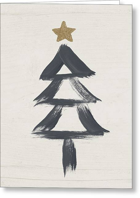 Primitive Mixed Media Greeting Cards - Modern Primitive Black and Gold Tree 2- Art by Linda Woods Greeting Card by Linda Woods