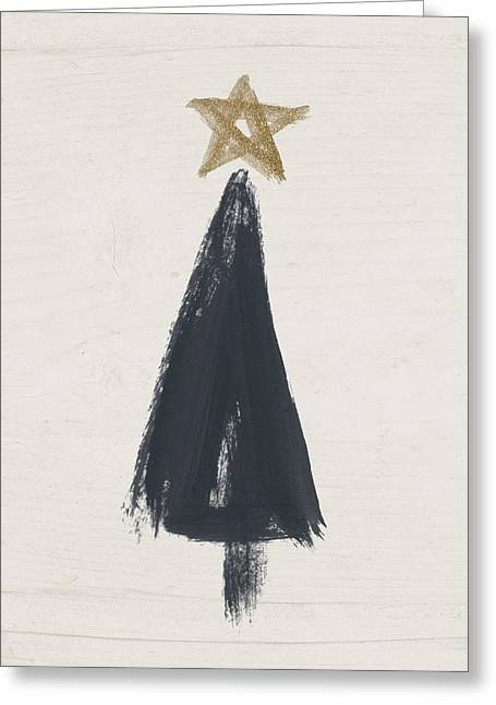 Modern Primitive Black And Gold Tree 3- Art By Linda Woods Greeting Card by Linda Woods