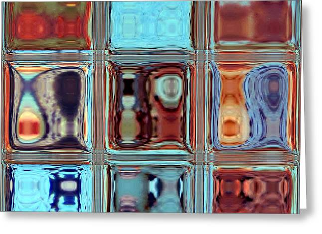 Glass Reflecting Greeting Cards - Modern Reflections Abstract Greeting Card by Deena Stoddard