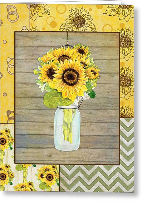 Sunflowers Greeting Cards - Modern Rustic Country Sunflowers in Mason Jar Greeting Card by Audrey Jeanne Roberts