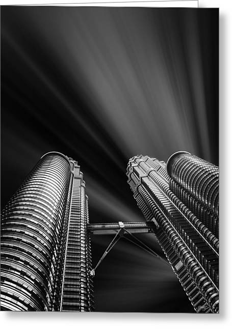 Facades Mixed Media Greeting Cards - Modern skyscraper black and white picture Greeting Card by Stefano Senise