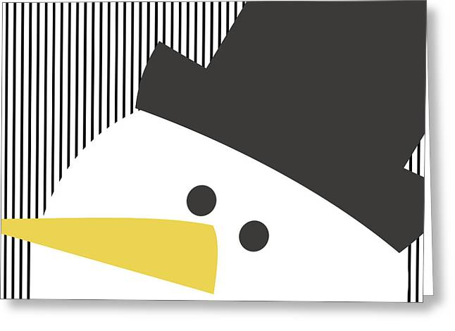 Modern Snowman On Stripes- Art By Linda Woods Greeting Card by Linda Woods