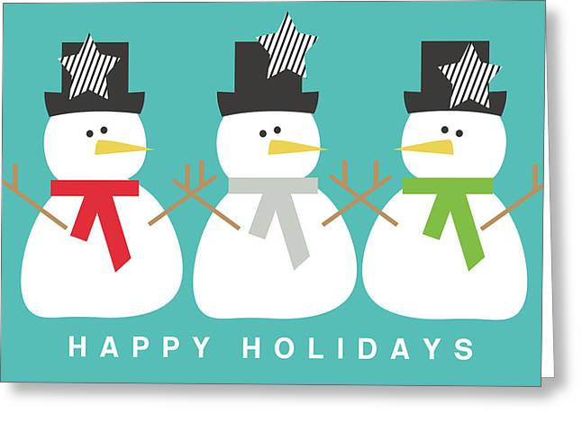 Modern Snowmen Happy Holidays- Art By Linda Woods Greeting Card by Linda Woods