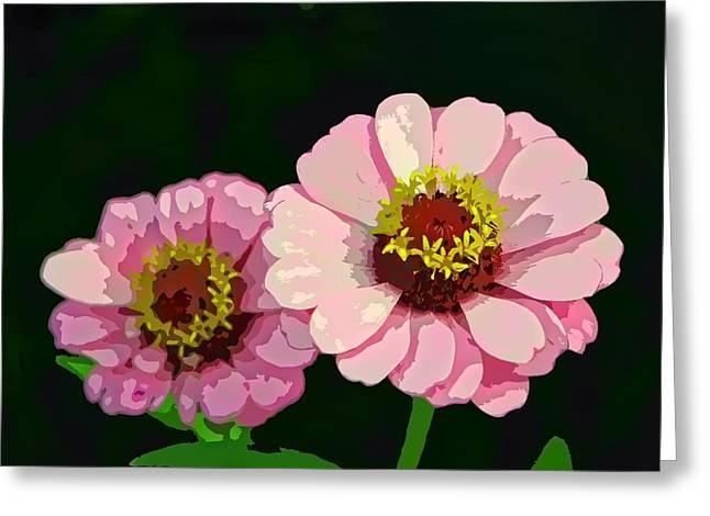 Modern Stylized Pink Zinnias Silk Screen Greeting Card by Elaine Plesser