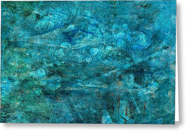 Bubbly Greeting Cards - Modern Turquoise Art - Deep Mystery - Sharon Cummings Greeting Card by Sharon Cummings