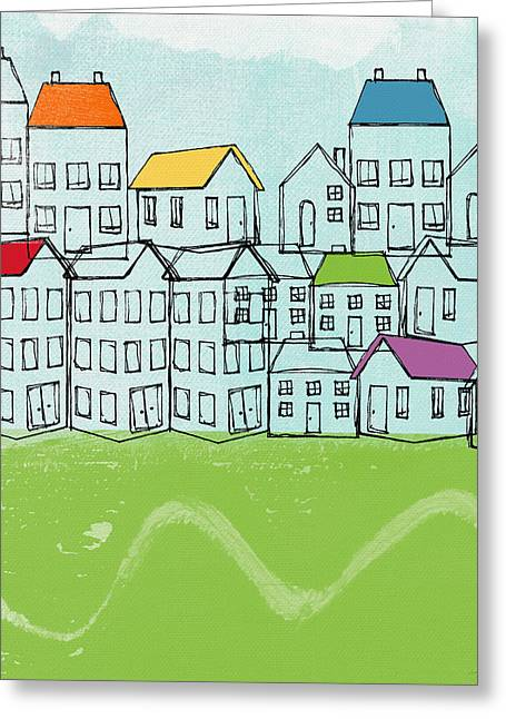 Marriage Mixed Media Greeting Cards - Modern Village Greeting Card by Linda Woods