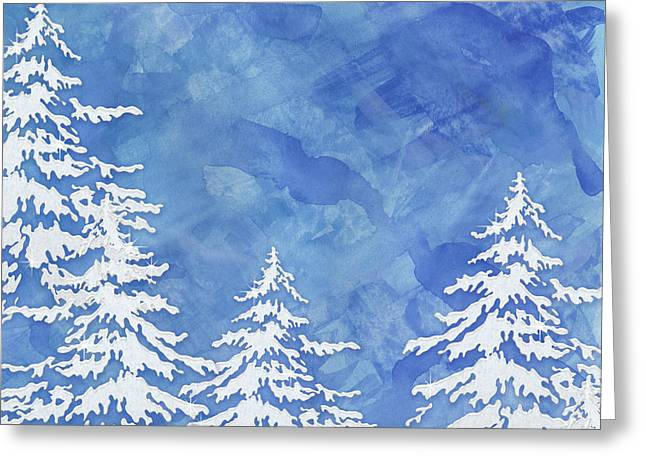 Modern Watercolor Winter Abstract - Snowy Trees Greeting Card by Audrey Jeanne Roberts