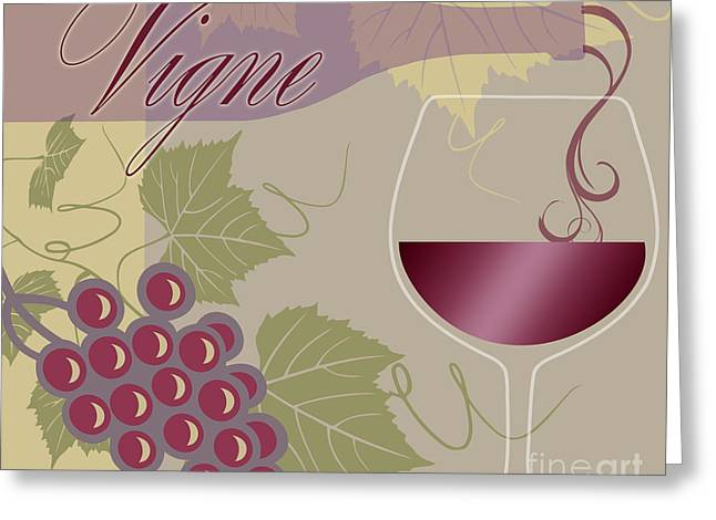 Wine Country. Greeting Cards - Modern Wine II Greeting Card by Mindy Sommers
