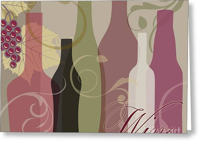 Muted Greeting Cards - Modern Wine III Greeting Card by Mindy Sommers