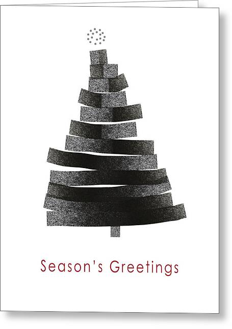 Modern Winter Tree- Season's Greetings Art By Linda Woods Greeting Card by Linda Woods