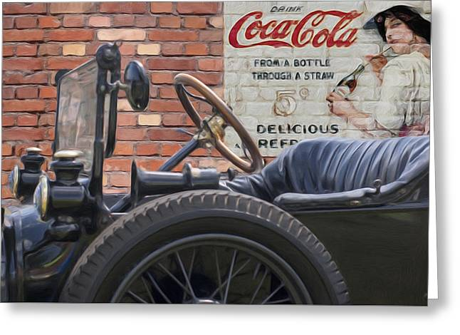 Ford Model T Car Greeting Cards - Modet T Vintage Coke Ghost Image Greeting Card by Jack Zulli
