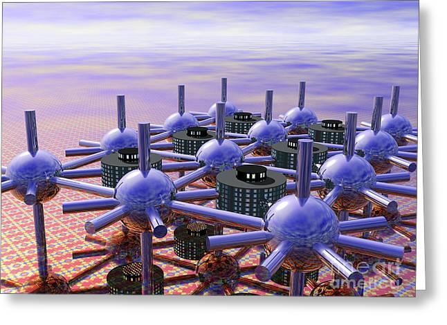 Modular City Greeting Card by Nicholas Burningham