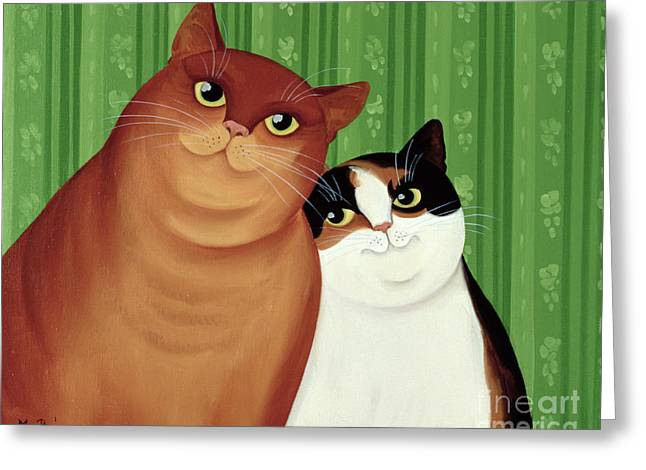 Mammals Greeting Cards - Moggies Greeting Card by Magdolna Ban