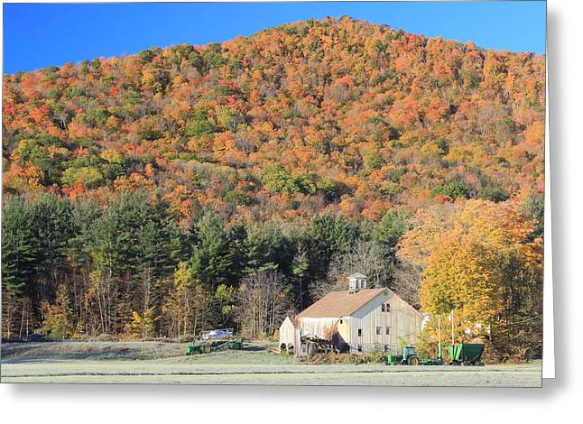 Franklin Farm Greeting Cards - Mohawk Trail Fall Foliage and Farm Greeting Card by John Burk