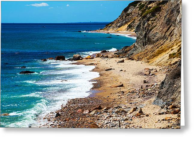 New England Coast Line Greeting Cards - Mohegan Bluffs Greeting Card by Karol  Livote