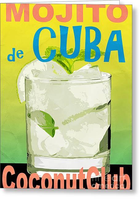 Coconut Greeting Cards - Mojito de Cuba Coconut Club Greeting Card by Edward Fielding