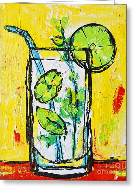 Mojito - Latin Tropical Drink Modern Art Greeting Card by Patricia Awapara