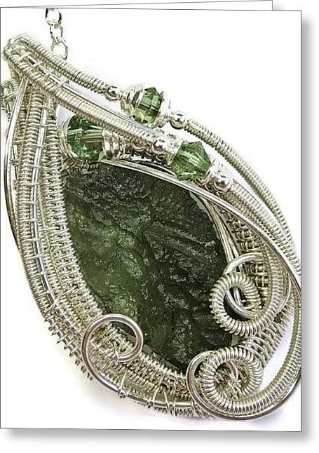 Jordan Jewelry Greeting Cards - Moldavite Swarovski Crystal and Sterling Silver Pendant MLDSS3 Greeting Card by Heather Jordan