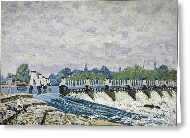 Molesey Weir Hampton Court Greeting Card by Alfred Sisley