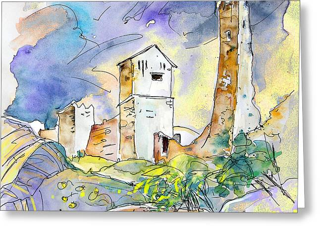 Travel Sketch Drawings Greeting Cards - Molina de Aragon Spain 01 Greeting Card by Miki De Goodaboom