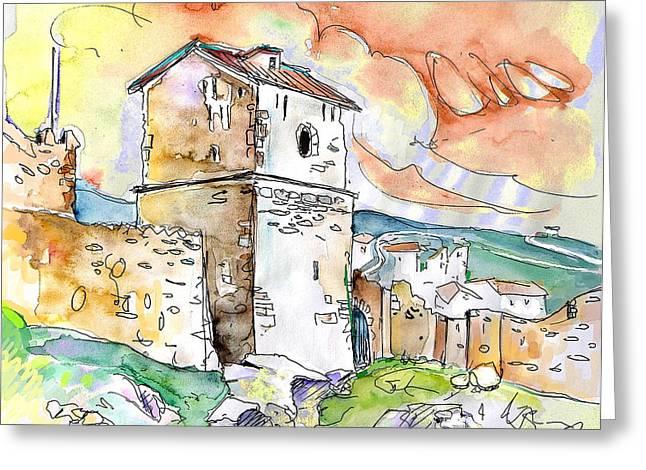 Travel Sketch Drawings Greeting Cards - Molina de Aragon Spain 02 Greeting Card by Miki De Goodaboom