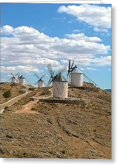Consuegra Greeting Cards - Molinos de Viento Greeting Card by Julie Pacheco-Toye