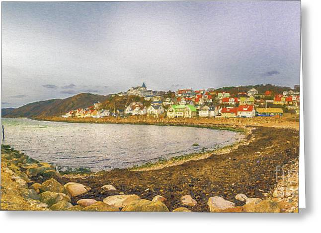 Port Town Digital Art Greeting Cards - Molle Village Digital Painting Greeting Card by Antony McAulay