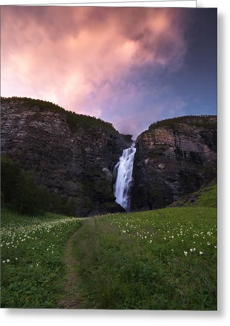 Arctic Greeting Cards - Mollisfossen Greeting Card by Tor-Ivar Naess