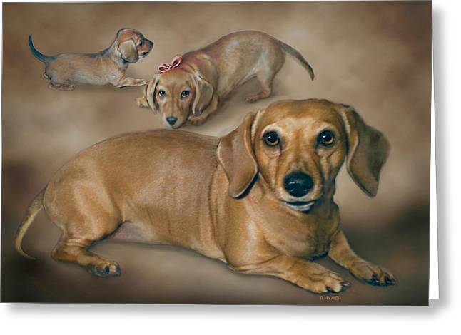 Puppies Digital Art Greeting Cards - Molly Greeting Card by Barbara Hymer